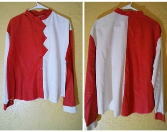 red and white zig zag button up shirt 50s/60s