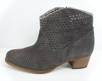 Grey Suede Ankle Boot in larger sizes EU 40 to 45