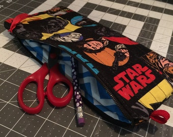 Star wars pencil pouch, zipper pouch, make-up bag, craft supply bag, cosmetic bag