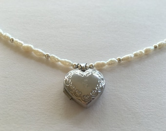 Freshwater Pearl and Silver Heart Locket Necklace