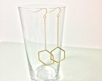 Classic hexagons brass dangle earrings