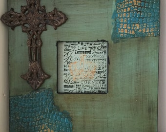 Blue Green Picture Frame with Cross