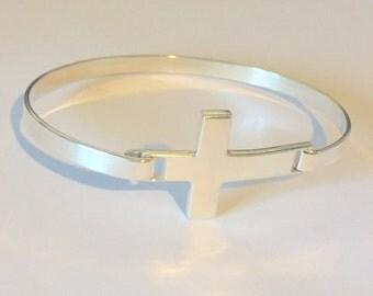 Sterling Silver Cross Bangle Bracelet | Sideways Cross | Cross Jewellery | Long Cross Bracelet | 925 Sterling Silver Bangle Bracelet