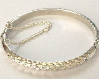 Sterling silver Childs Bangle Diamond cut
