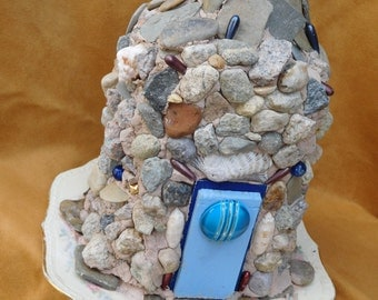 Blue Fairy Stone Fairy House OOAK