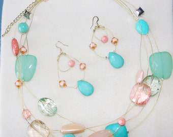 Floating Beads Necklace and Earring Set