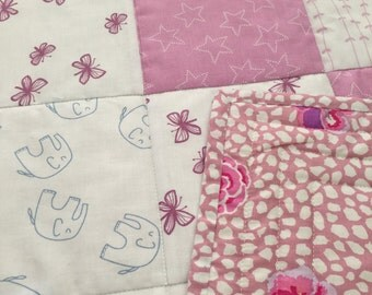 Quilt - Baby - Girl - Elephant - Grey - pink - Handmade