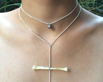 Double strand bone pearl necklace