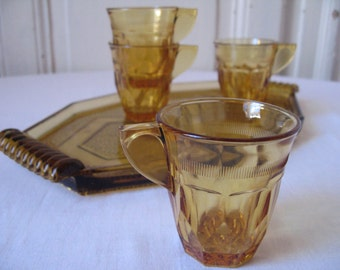 Cups and tray Art deco depression glass / cup espresso glass molded / coffee glass amber / 30s / Vintage France