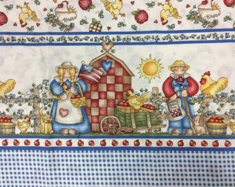 Country Border Print Cotton Fabric
