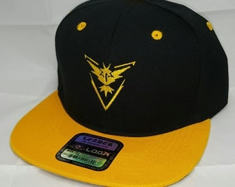 Pokemon GO Team Instinct Embroidered Snapback Baseball Hat / Black / Yellow Gold Bill Hat Snapback Cap