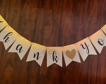 Navy & Gold Thank You Wedding Banner