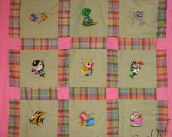 Water critter quilted throw