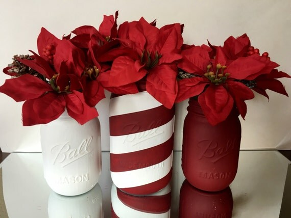 Set Of 3 Red And White Mason Jars Flower Vase Christmas