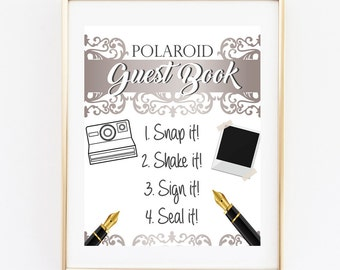 Wedding Polaroid Guest Book, Wedding Guest Book, 8x10 INSTANT DOWNLOAD, Wedding Signs, Silver Photo Guest Book, Photo Guest Book