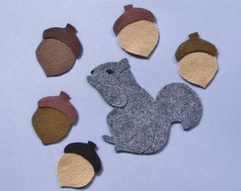 Felt Board Set / Felt Board Stories / Preschool / Five Acorns / Felt Squirrel / Teacher Gift