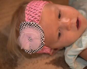 headband pink black polka dot