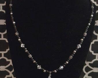Black, crystal, Purple skull Beaded necklace, DIY, Handmade