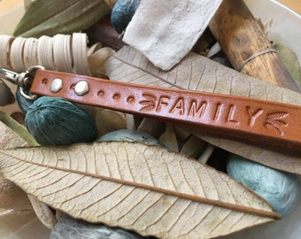 """Ready-to-Ship, Hand-Stamped, Saddle Brown, Vegetable-Tanned, Leather """"FAMILY"""" Key Fob, Key Ring, Key Chain, Purse Charm, Bag Charm"""