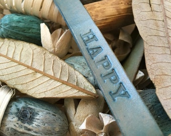 "Ready-to-Ship, Hand Stamped, Turquoise, Vegetable-Tanned, Leather ""HAPPY"" Key Fob, Key Ring, Key Chain, Purse Charm, Bag Charm"
