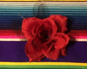 Full size red rose with veil and pearl vines