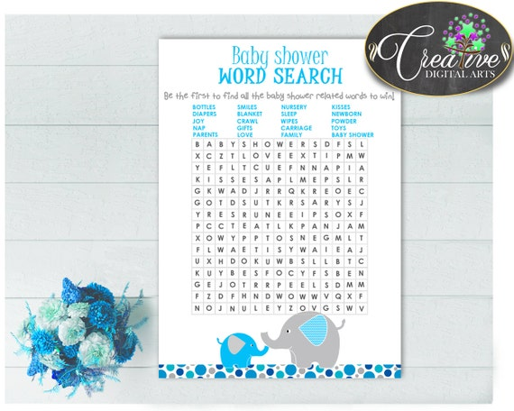 Baby Shower Mammoth Baby Shower Tusker Crossword Puzzle