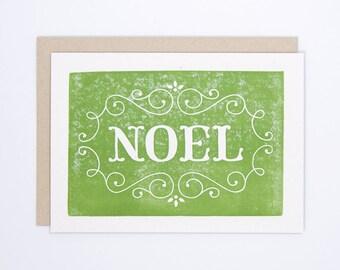 Set of 6 Noel | Christmas Card | Block Printed Card | Handmade Greeting Card | Hand Lettering | Linocut