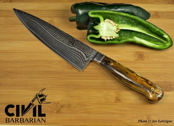 damascus chef knife with ironwood handle. Black Bedroom Furniture Sets. Home Design Ideas