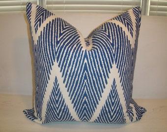 Navy White Modern Ikat Chevron Pillow Cover Zig zag