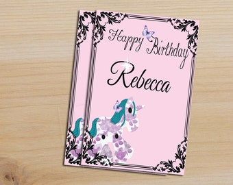 Unicorn Birthday card  (Printable) Add your own name <3