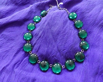 Green Glass Bubble  Collar Necklace