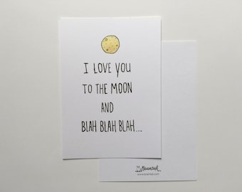 I love you to the moon and blah blah blah//love card//Lovecard//Love you card//Fun map//unique map//Valentine