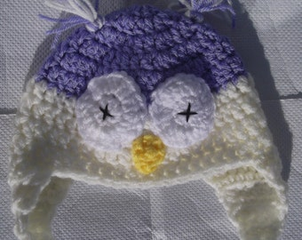Purple Owl Baby Hat