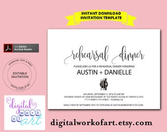 Rehearsal Dinner Invitation, Rehearsal Invitation, Dinner Rehearsal Invitation, Rehearsal Dinner Printable, PDF Instant Download