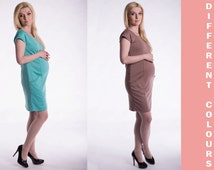 Maternity Pregnancy Elegance , Dress with pockets ,  Nursing Clothes , Gown