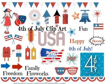 Fourth of July Clip Art, Elements, Digital Download Printable, Instant Download, Fourth of July Clip Art