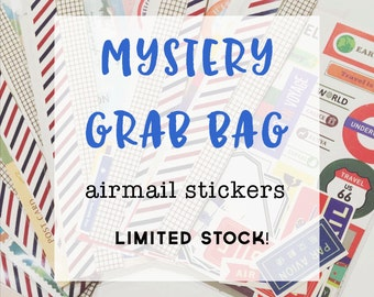 Mystery Grab Bag - Random Assortment of Air Mail Stickers, Labels & Tape