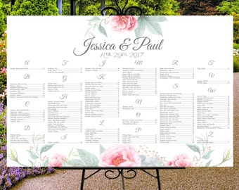 Wedding seating chart printable, digital custom wedding sign, seating assignments, seating plan, table assignment, alphabetical guests list