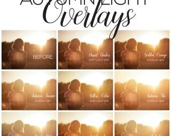 Autumn Light Overlays - Photoshop overlays, sun overlays, fall overlays, sun burst overlays, light overlays, sun flare overlays, overlays