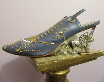 Fantasy Collection Studded Shoes with Acrylic Heel and Lion Detail