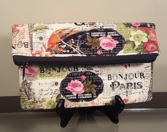 Shabby Chic Paris Clutch with Zipper Opening