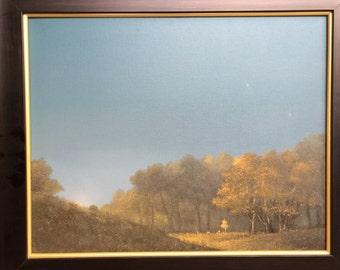 "Mongolian Art: ""Nightfall"" original, by Kh, Khurelbaatar"