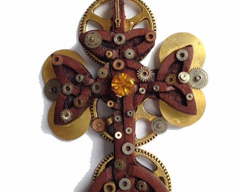 Steampunk / Victorian Cross with gears