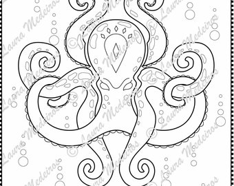 Jewel And Crown Octopus Coloring Page