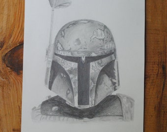 Hand Drawn Boba Fett in Graphite