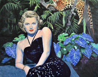 Jungle Haven - Original Leopard Painting Lana Turner Jane Ianniello
