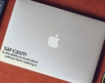 Laptop Decal - Sar-casm Meaning | Cheeky Funny tablet decal | Computer sticker | Office humour | Mac Book Decal | Apple MacBook | ipad decal