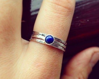 Lapis lazuli ring, Hammered silver ring, stacking rings set, Gemstone ring, Blue gemestone, Lapis lazuli jewelry, UK jewellery