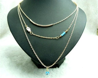 Pretty Gold Bar Evil Eye Layered Necklace Womens Girls Delicate Dainty Simple Hamsa Hand of Fatima Kaballah Layering Long Jewelry Jewellery