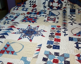 Red, White and Blue Queen Size Quilt